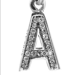 Pandora CZ Letter A Charm